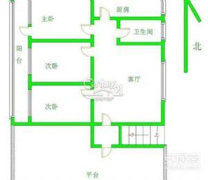 市四中学区房 超大阳台 大三室经典2楼